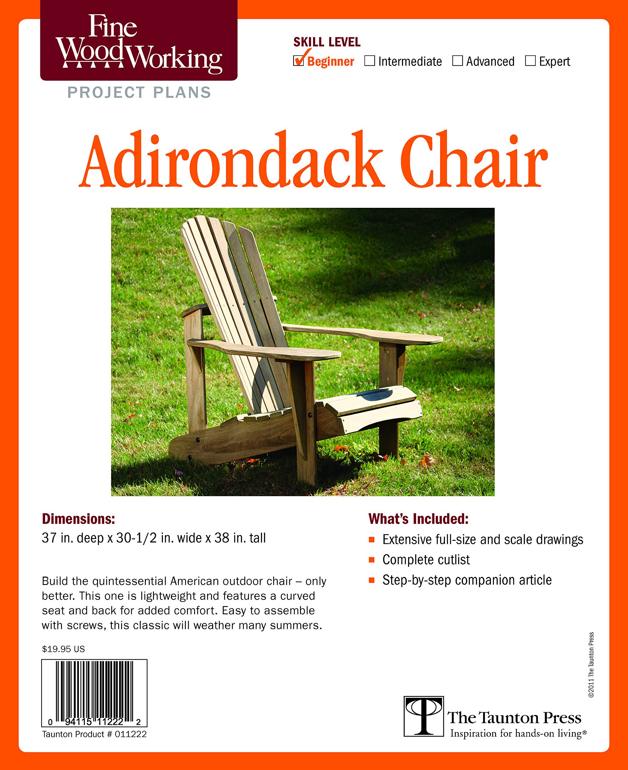amazon fine woodworking s adirondack chair plan beginner fine