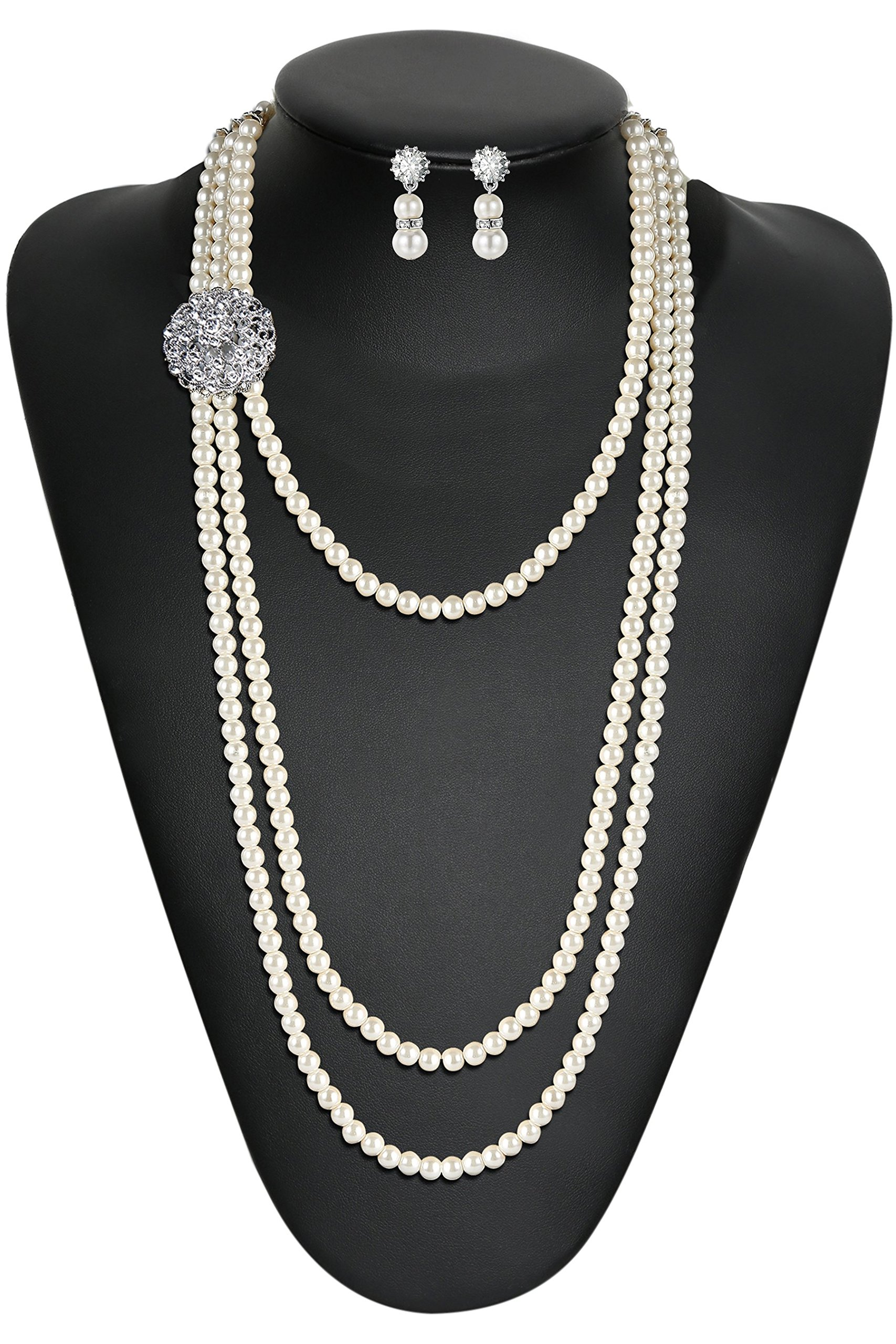 BABEYOND 1920s Gatsby Pearl Necklace Vintage Bridal Pearl Necklace Earrings Jewelry Set Multilayer Imitation Pearl Necklace with Brooch (Style 1) by BABEYOND (Image #2)