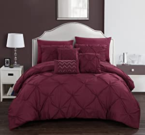 Chic Home Hannah 8 Piece Comforter Complete Bag Pinch Pleated Ruffled Pintuck Bedding with Sheet Set and Decorative Pillows Shams Included, Twin, Burgundy