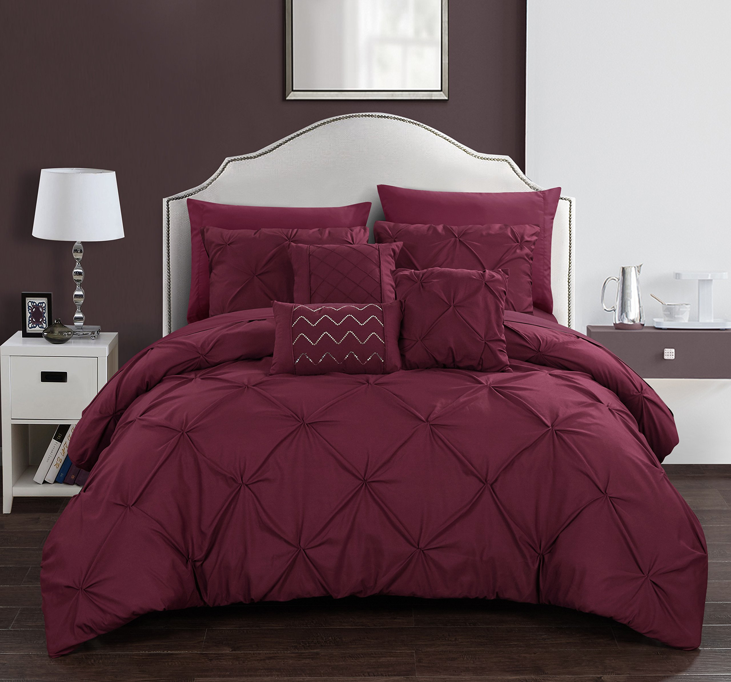 Chic Home Hannah 8 Piece Comforter Set Complete Bed In A Bag Pinch Pleated Ruffled Pintuck Bedding with Sheet Set And Decorative Pillows Shams Included, Twin Burgundy