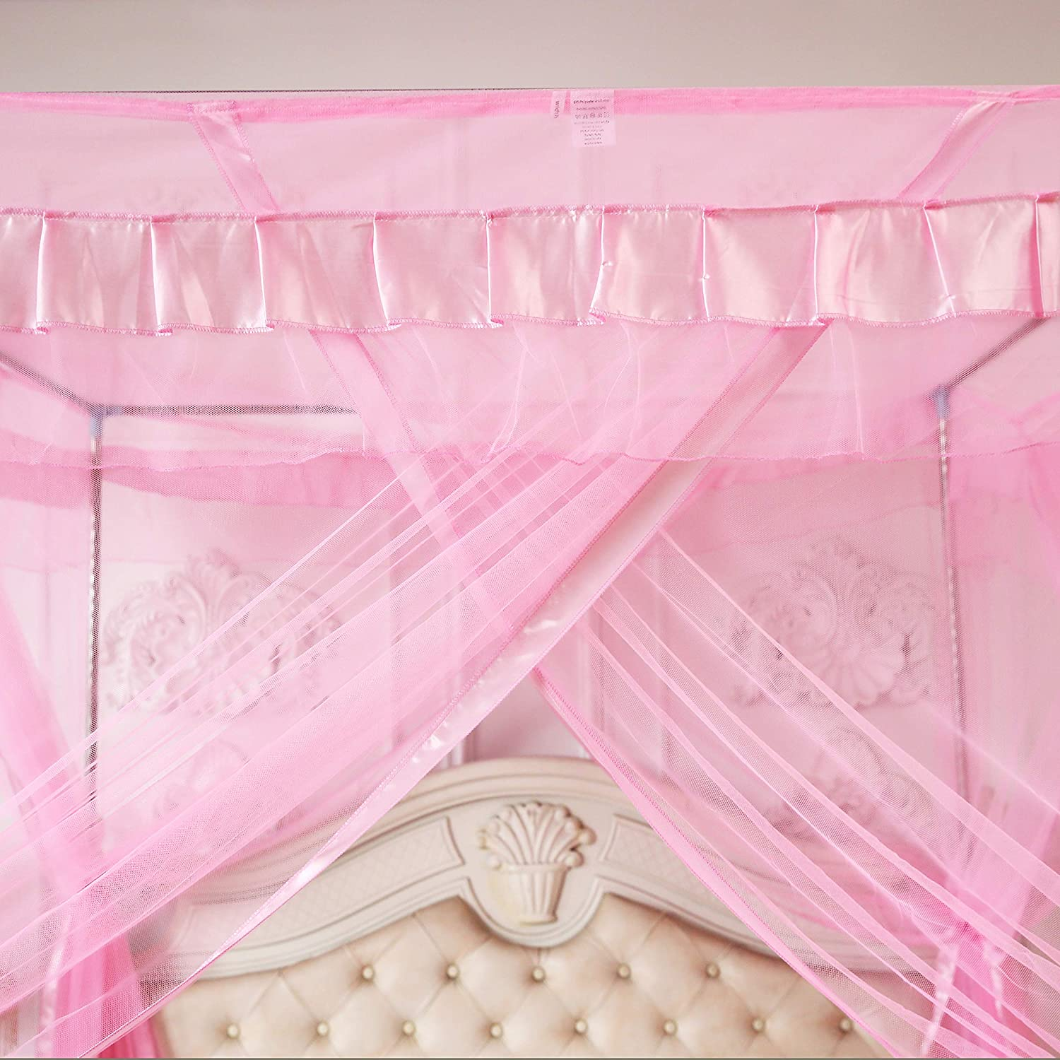 Mengersi Pink Kids Princess Bed Canopy For Little Girls Toddler Twin Bed Curtains Mesh Mosquito Net Christmas Gift Birthday Present: Kitchen & Dining