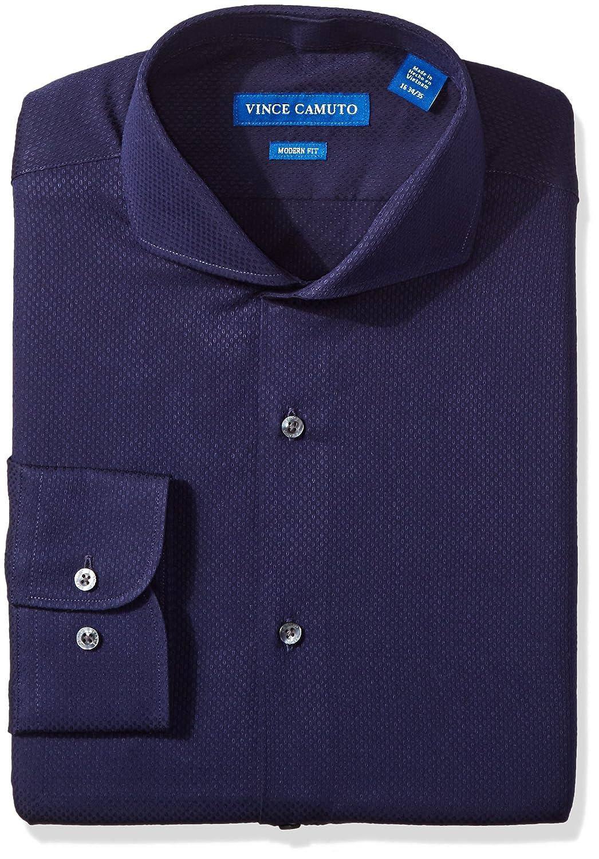 Vince Camuto Mens Modern Fit Textured Dobby Dress Shirt Midnight
