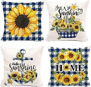 pinata Sunflower Pillow Cover 16x16'' Blue Buffalo Plaid Decorative Throw Pillow Case Set of 4 Yellow Outdoor Sofa Couch Linen Farmhouse Sunflower Home Decor for Summer Fall Spring Winter (no Insert)