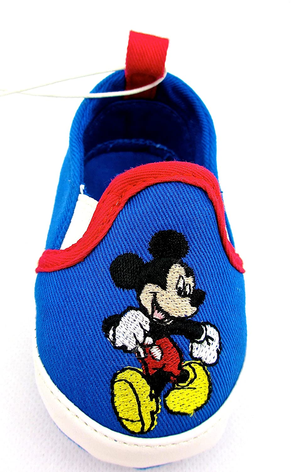 Mickey Mouse Disney Crib Shoes for Baby Boys,Blue Canvas,Embroidered 0-6M