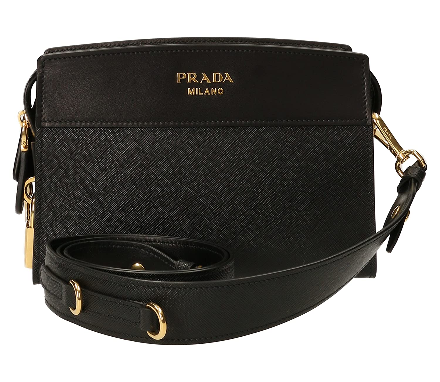 Amazon.com  Prada Black Leather Clutch Bag With Shoulder Strap 1bh043 Waist  bag  Shoes ba51dd49a7199