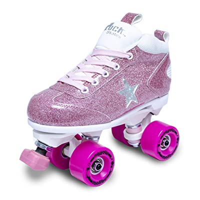 Sure-Grip Girls Roller Skates - Indoor Outdoor Classic High-Top Quad Design - Rock Star Pink Glitter Roller Skates : Sports & Outdoors