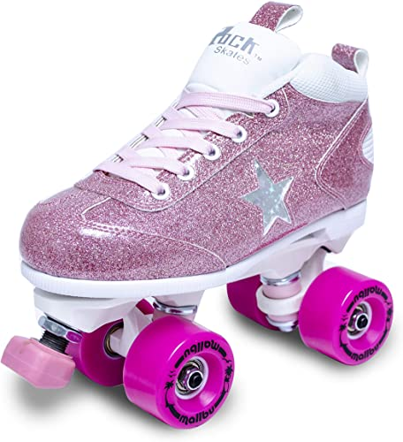 Sure-Grip Girls Roller Skates – Indoor Outdoor Classic High-Top Quad Design – Rock Star Pink Glitter Roller Skates