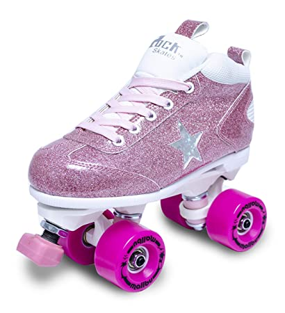 Sure-Grip Girls Roller Skates – Indoor Outdoor Classic High-Top Quad Design – Rock Star Pink Glitter Roller Skates