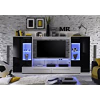Furnline Hightec TV Stand Wall Unit Living Room Furniture Set, Black/White