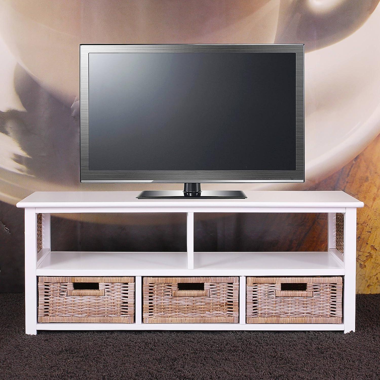 Meuble Tv Table Basse Alabama Bois Massif Osier 3 Tiroirs Blanc  # Nouveau Model De Table Televiseur En Bois