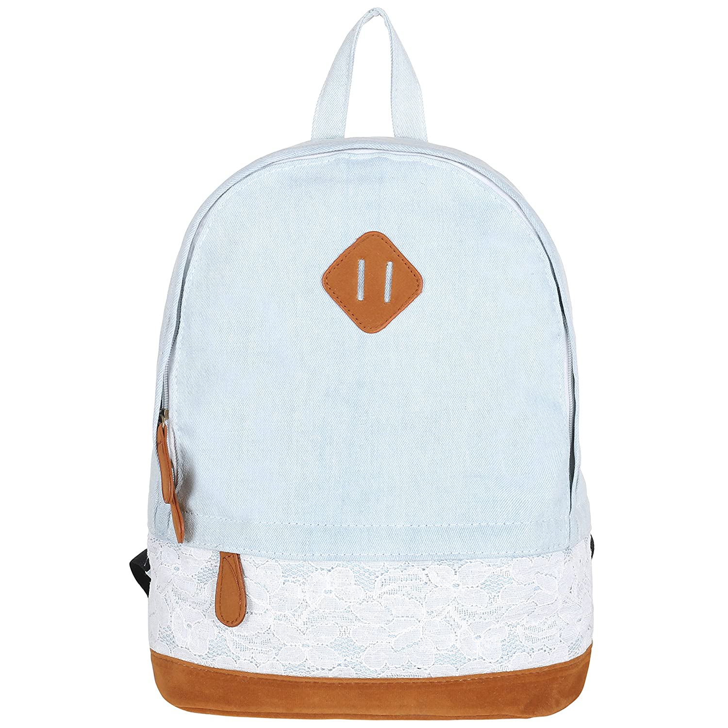 5f7ed0fbd4d Amazon.com   Girls 14-Inch Light Blue Denim Backpack with Lace Overlay   Faux  Suede Bottom   Kids  Backpacks