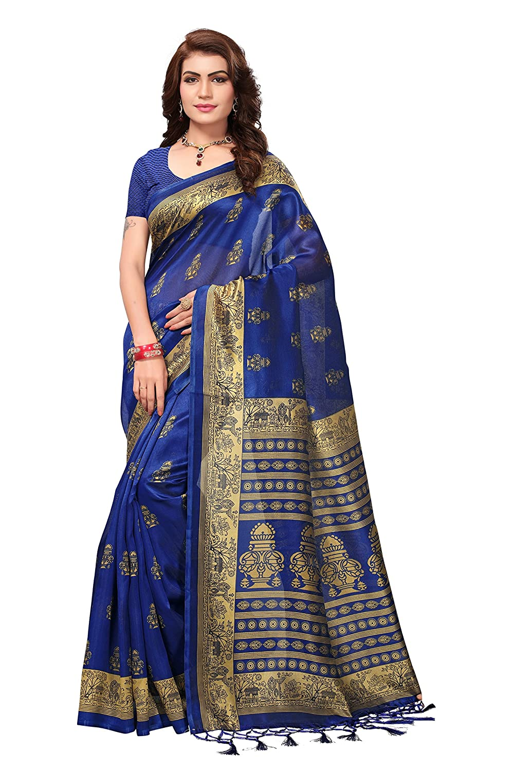 8faa968b12666 Indira Designer Silk Saree with Blouse Piece (BM-G2FZ-NFXC0 Blue Free  Size)  Amazon.in  Clothing   Accessories