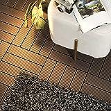 "PANDAHOME 1 PCS Wood Plastic Composite Patio Deck Tiles, 12""x12"" Interlocking Decking Tiles, Water Resistant for Indoor & Out"