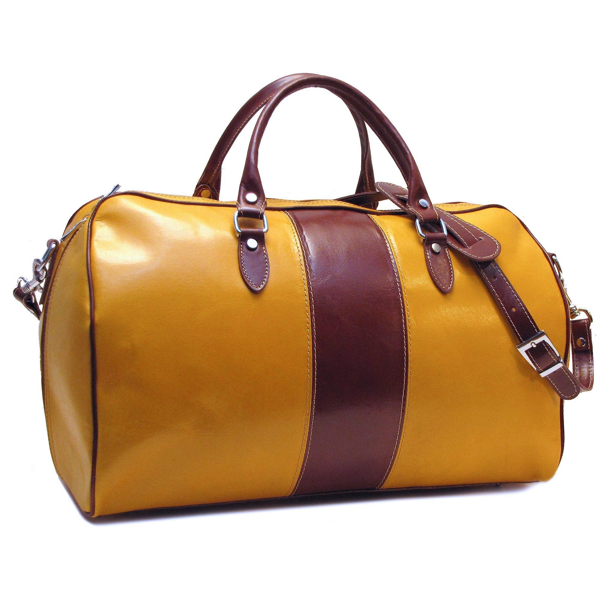 Floto Venezia Duffle Bag in Yellow and Brown Italian Calfskin Leather