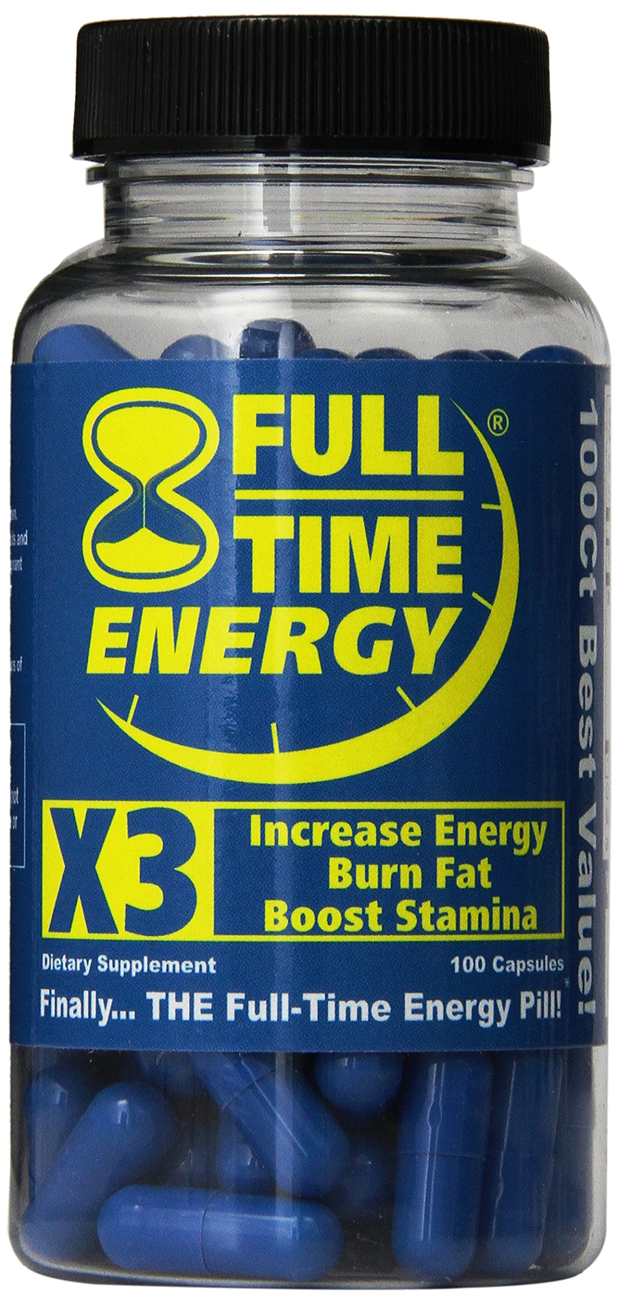 Full-Time Energy X3 - 100 Capsules - Increase Energy Burn Fat Boost Stamina - Best Natural Energy Booster Fat Burner Supplements Stamina Enhancer - Weight Loss Diet Pill Lose Weight for Men and Women by Full-Time
