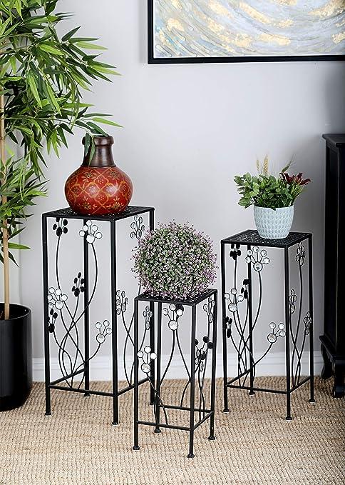 Amazon Com Deco 79 63344 3 Piece Metal Outdoor Plant Stand Set Square Home Kitchen
