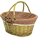 east2eden Honey Wicker Willow Shopping Hamper Basket with Red Gingham & Lace Liner In Choice of Deals (Single Basket)