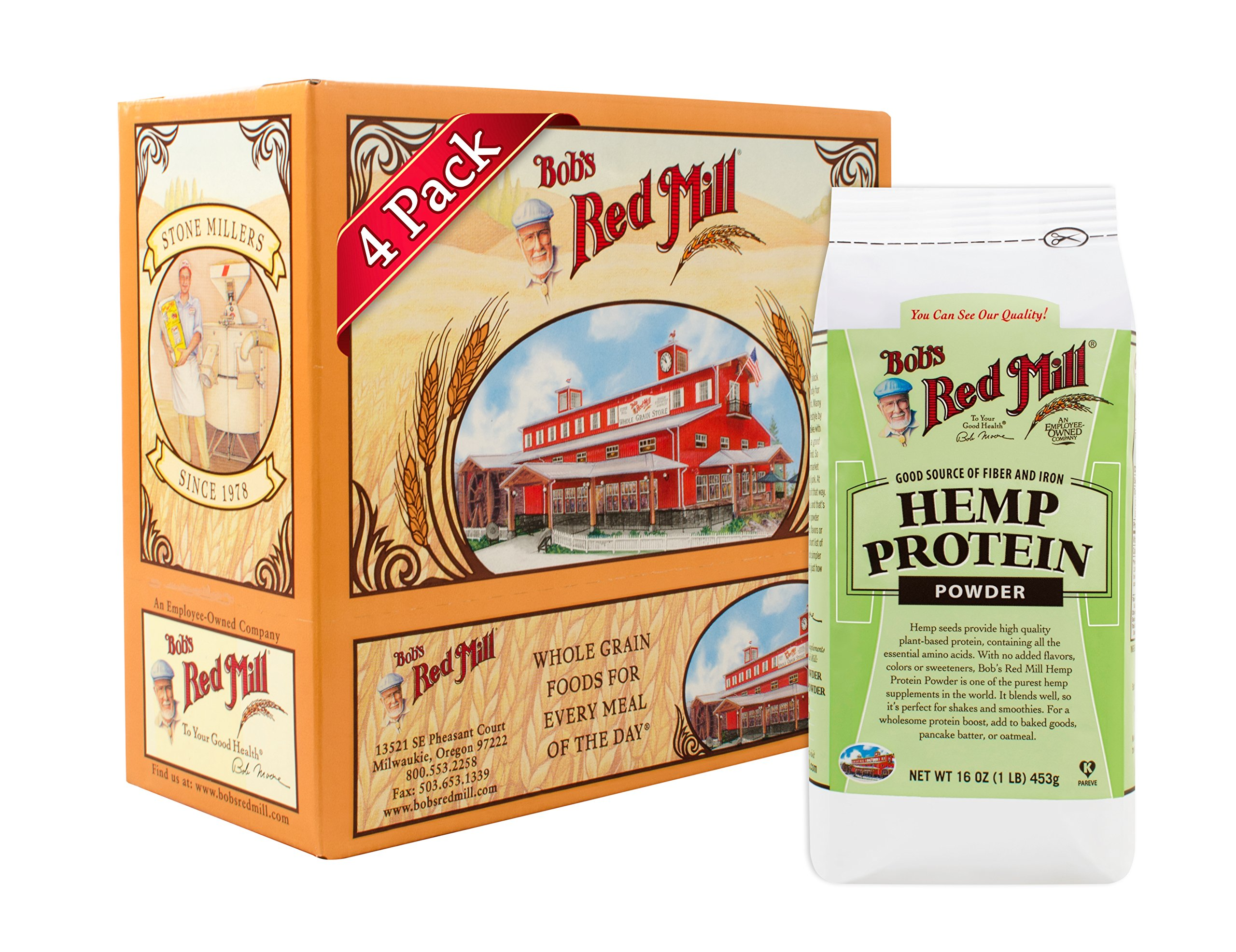 Bob's Red Mill Resealable Hemp Protein Powder, 16 Oz (4 Pack) by Bob's Red Mill