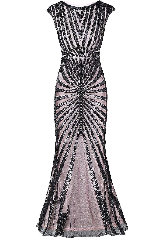 557487d9ca ArtiDeco 1920s Flapper Fringed Sequin Dress Roaring 20s Fancy Dress Gatsby Costume  Dress Vintage Beaded Evening Dress  Amazon.co.uk  Clothing
