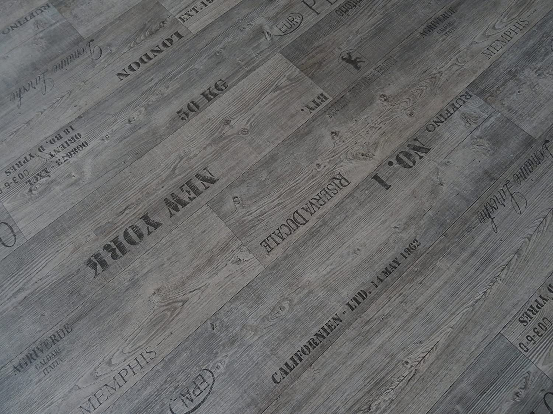 grau PVC mit Schriftz/ügen von Alpha-Tex 9.95/€//m/² L/änge: 350 cm, Breite: 200cm