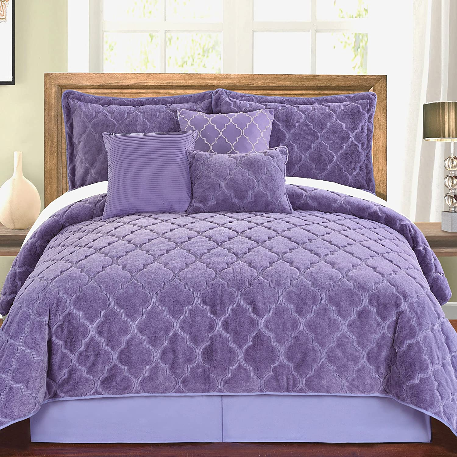 Serenta Faux Fur Ogee Embroidery 7 Piece Bedspread Quilts Set, Queen