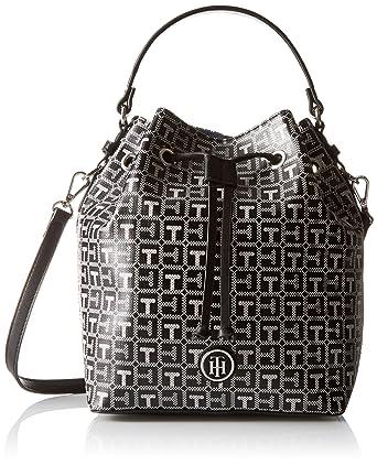 f1d43e529da Tommy Hilfiger Backpack for Women Mara Logo, Black/White: Handbags ...