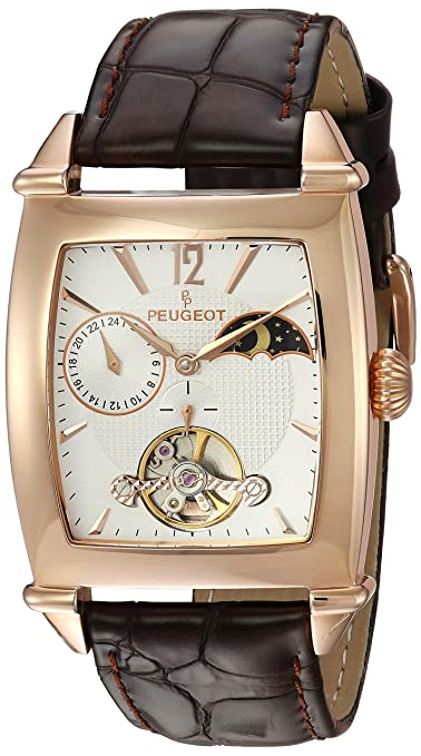 Peugeot Men's Automatic Stainless Steel and Leather Casual Watch, Color:Brown (Model: MK901RG) Men at amazon