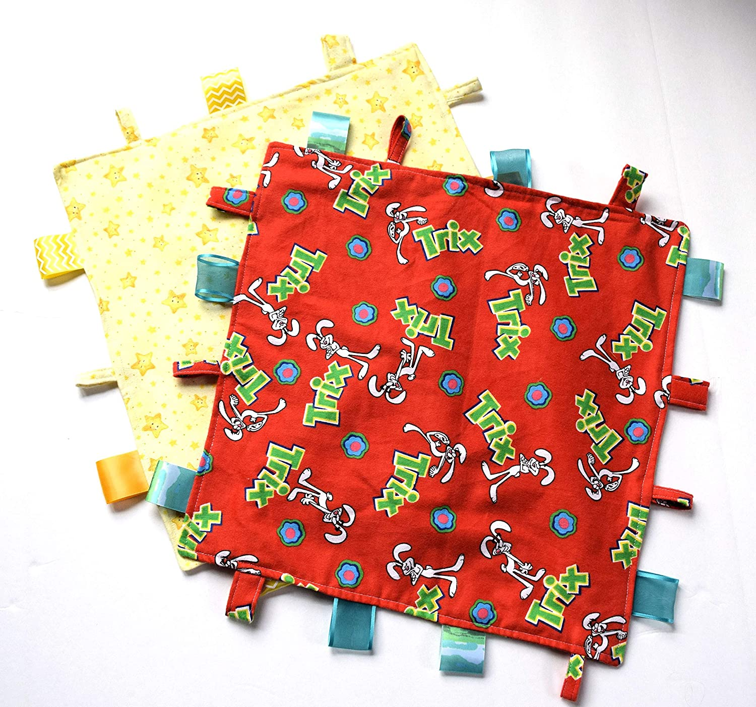 Baby Comfy Blanket Mini Blanket,Trix Rabbit or Smiley Stars on Soft Flannel Your Choice,Baby Lovey ONE
