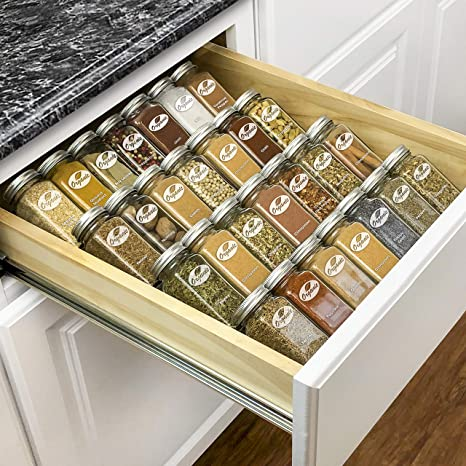 Lynk Professional 430414DS Spice Rack Tray - 4 Tier Heavy Gauge Steel  Drawer Organizer for Kitchen Cabinets, Silver Metallic, Large, Insert