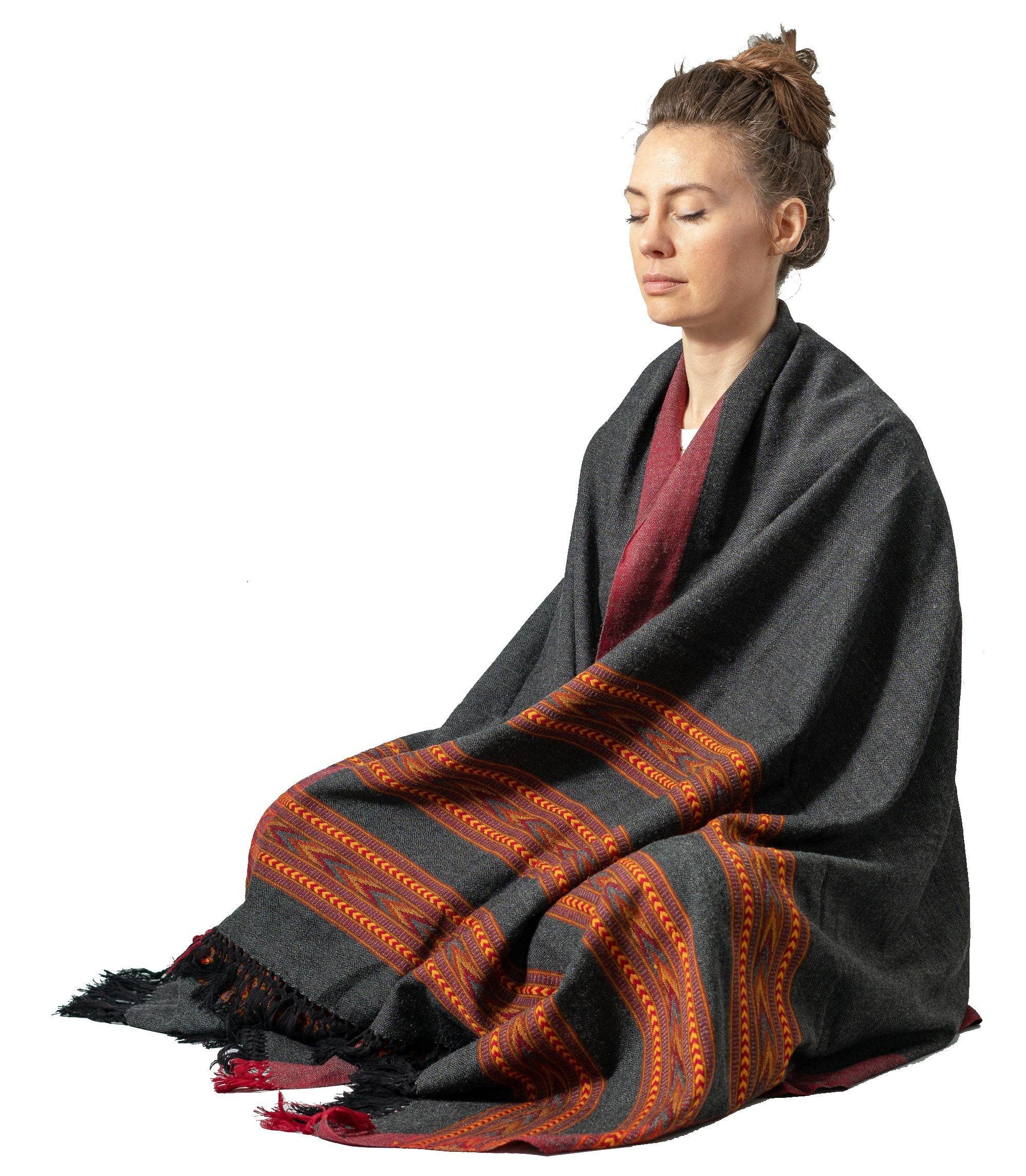 Meditation Shawl by Om Shanti Crafts | Prayer Shawl, Buddha Blanket, Oversize Scarf, or Wool Wrap for Daily Meditation Unisex (Extra Large 7.5'x3.5')
