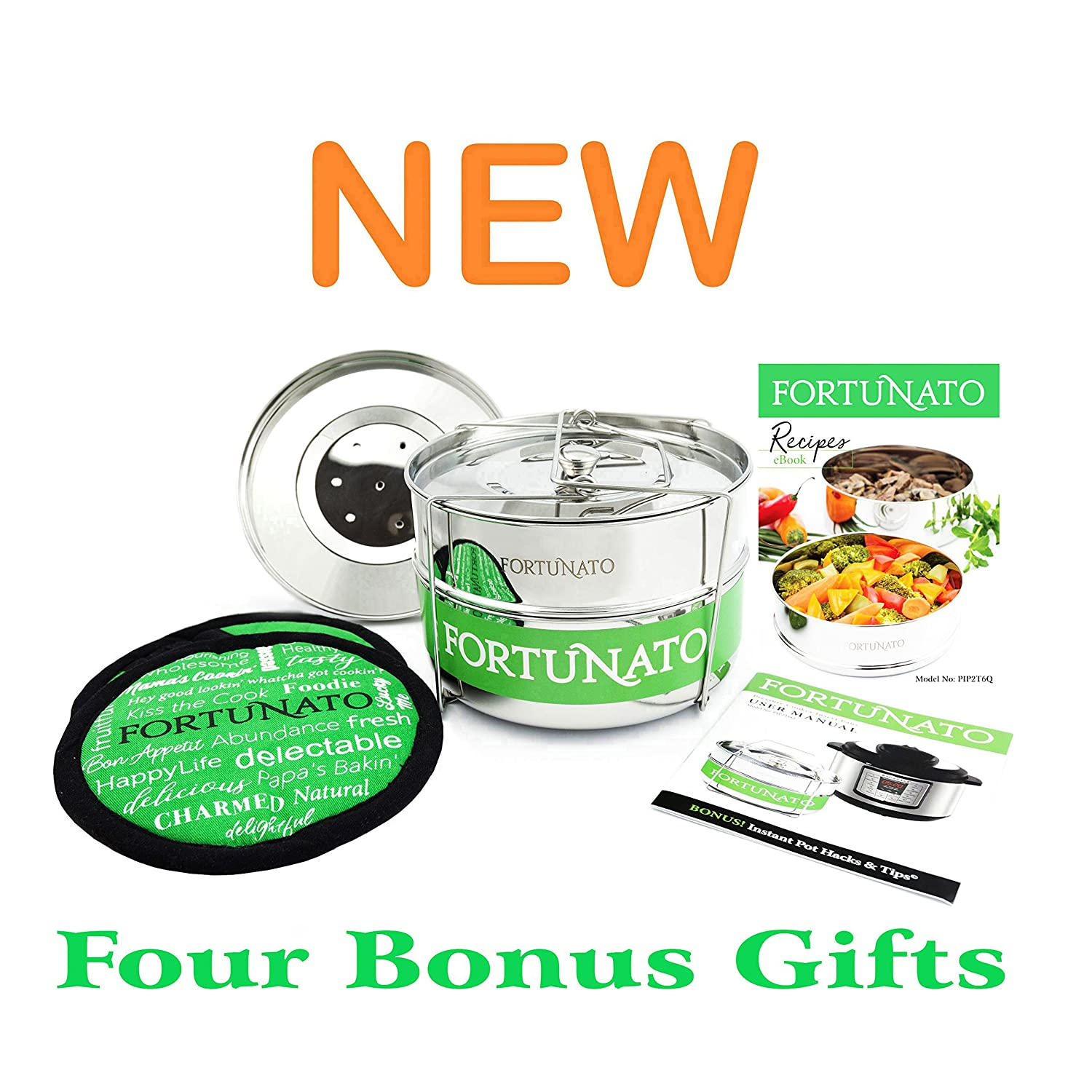 Stackable Stainless Steel Steamer Insert Pans w/Sling, BONUS Interchangeable Steam Lid, Instant Pot Hacks and Tips, Potholders, Ebook. 5, 6, 8 Quart Pressure Cooker Accessories. By FORTUNATO 2018 NEW