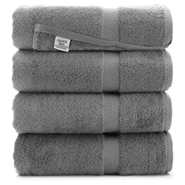 Luxury Premium Turkish Ring-Spun Cotton 4-Piece Bath Towels (Gray)