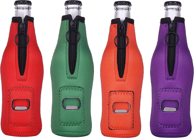 Beer Bottle Insulator Sleeve Keeps Beer Cold and Hands Warm, Pack of 4. Built in Bottle Opener