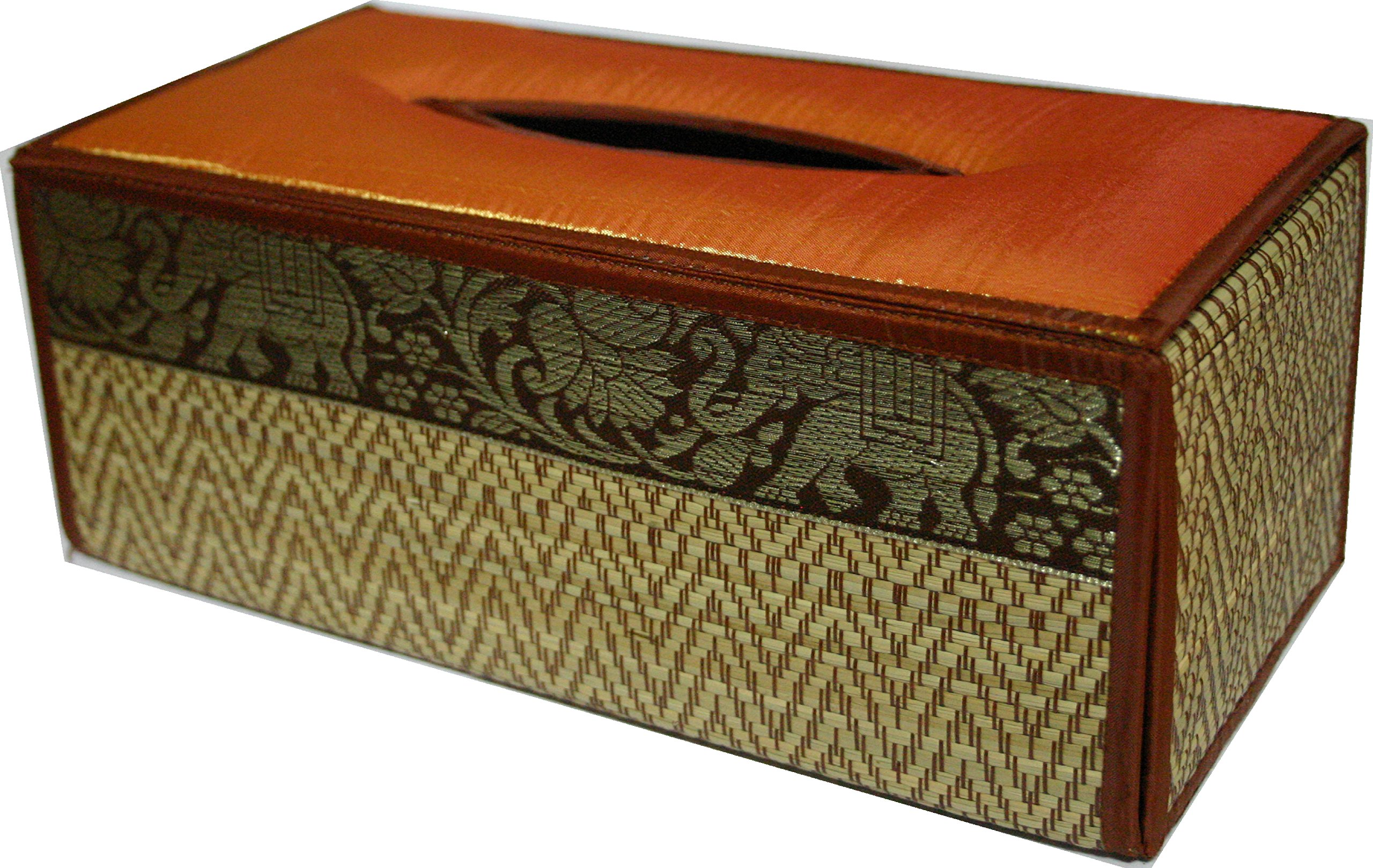 TOPMOST N-9002, Handmade Thai Woven Straw Reed Rectangular Tissue Box Cover with Silk Elephant Design 5x3.7x10.2 Inch by Topmost