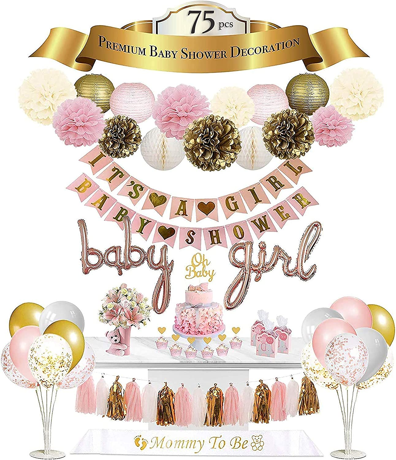 Baby Shower Decorations For Girl | Premium | 75 Pcs | It's A Girl Banner | Baby Girl Foil Balloons | Flower Pom Poms, Paper Lanterns, Honeycomb Balls, Tassels (Pink, Gold, White) | Confetti & Latex Balloons | Cake Toppers | Sash | Air Pump | US PERFECT HAPPINESS