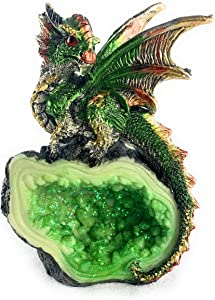 Aint It Nice Dragon Rock Faux Geode Cavern Sparkling Medieval Collectible Fantasy Figurine Statue Décor, 4 X 3 X 1.5 inches (Green)