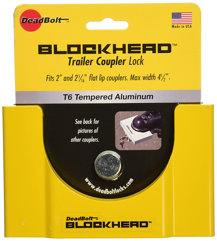 CT Johnson Enterprises TCL3-YL Deadbolt Blockhead Trailer Coupler Lock