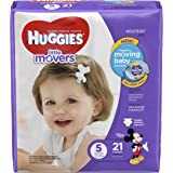 HUGGIES LITTLE MOVERS Diapers, Size 5 (27+ lb.), 21 Ct. (Packaging May Vary), Baby Diapers for Active Babies