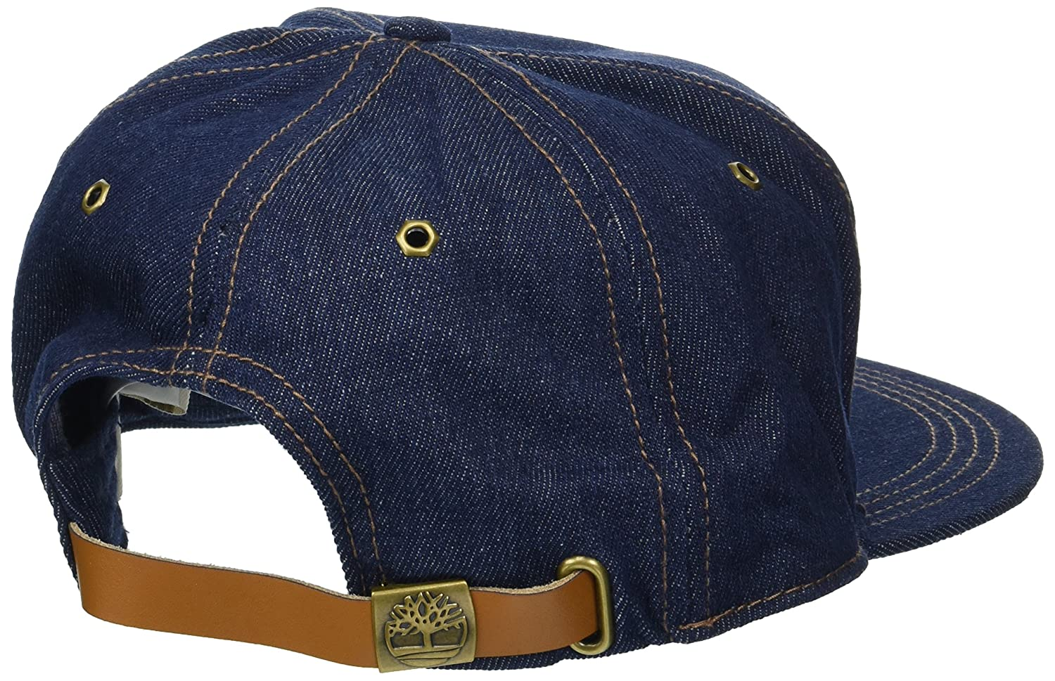 Timberland Mens Cotton Baseball Cap, Dark Denim/Leather Patch Logo one Size at Amazon Mens Clothing store: