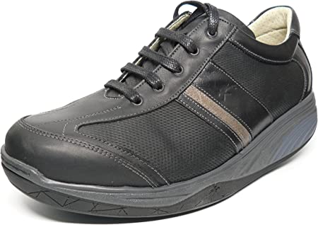 Zapatos Hombre con Cordones Tipo Deportivo FLUCHOS - Piel Negro con Banda Gris Balancín - 7902 – Barco