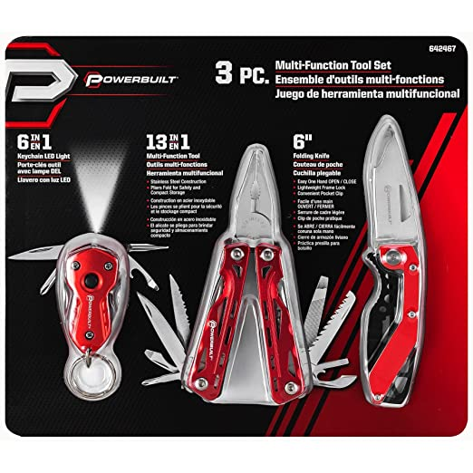 Powerbuilt 3pc Multi-tool, Blade Pocket Knife & Mini Tool W ...