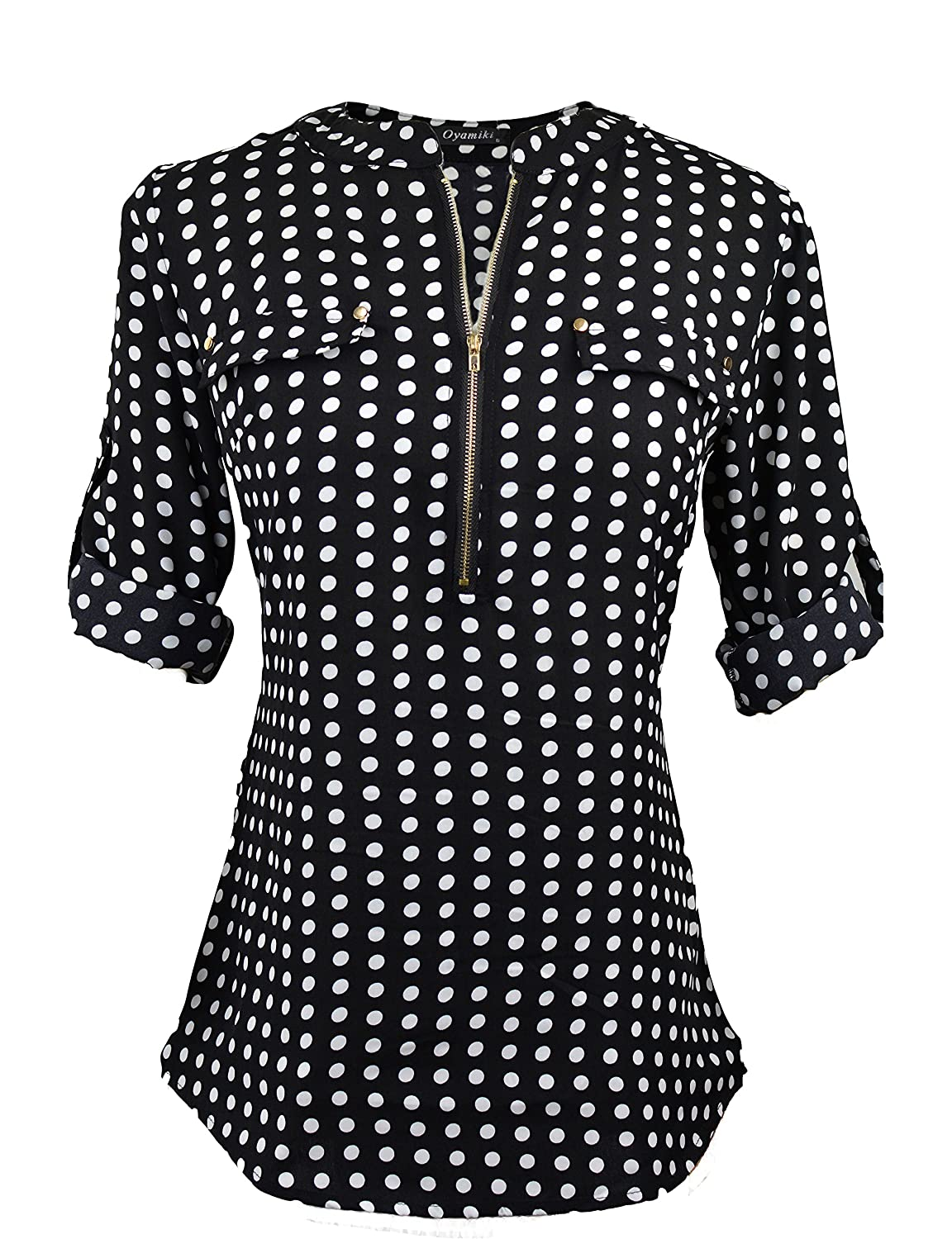 3d4db0a18a Ladies Chiffon Blouse Tops features: Zip Up V Neck, Long Sleeve, Rounded  Hemline, Polka Dot/ Floral Printing.