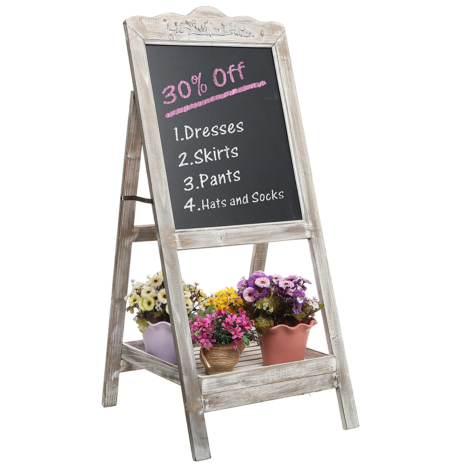 Superb Amazon.com: Decorative Vintage White Washed Brown Wood Large Freestanding  Chalkboard Message Board Easel   MyGift: Home U0026 Kitchen Nice Ideas