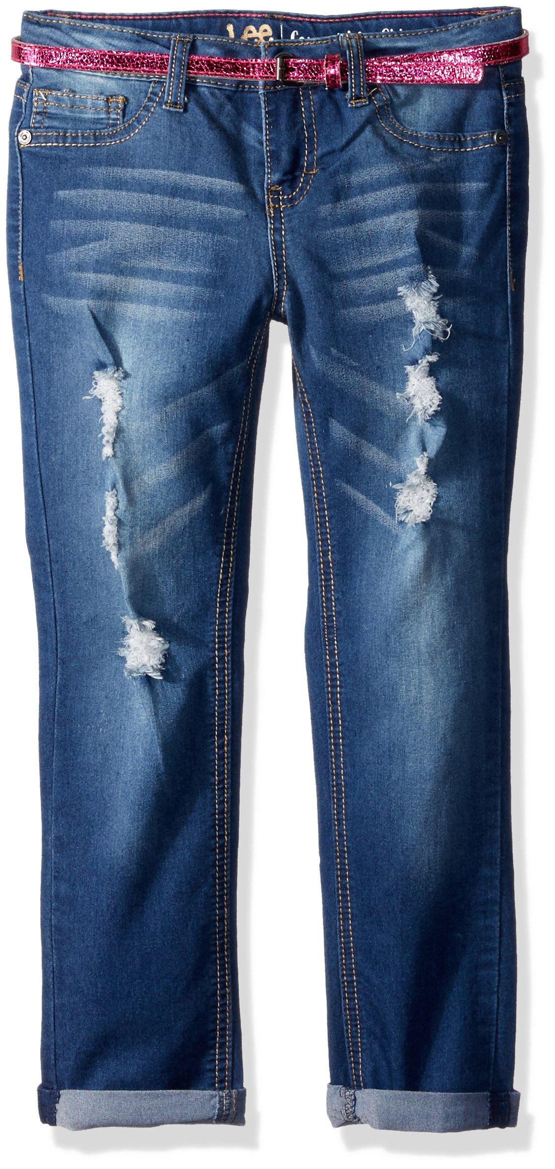 LEE Little Girls' Belted Skinny Jean, Blue Bell, 4