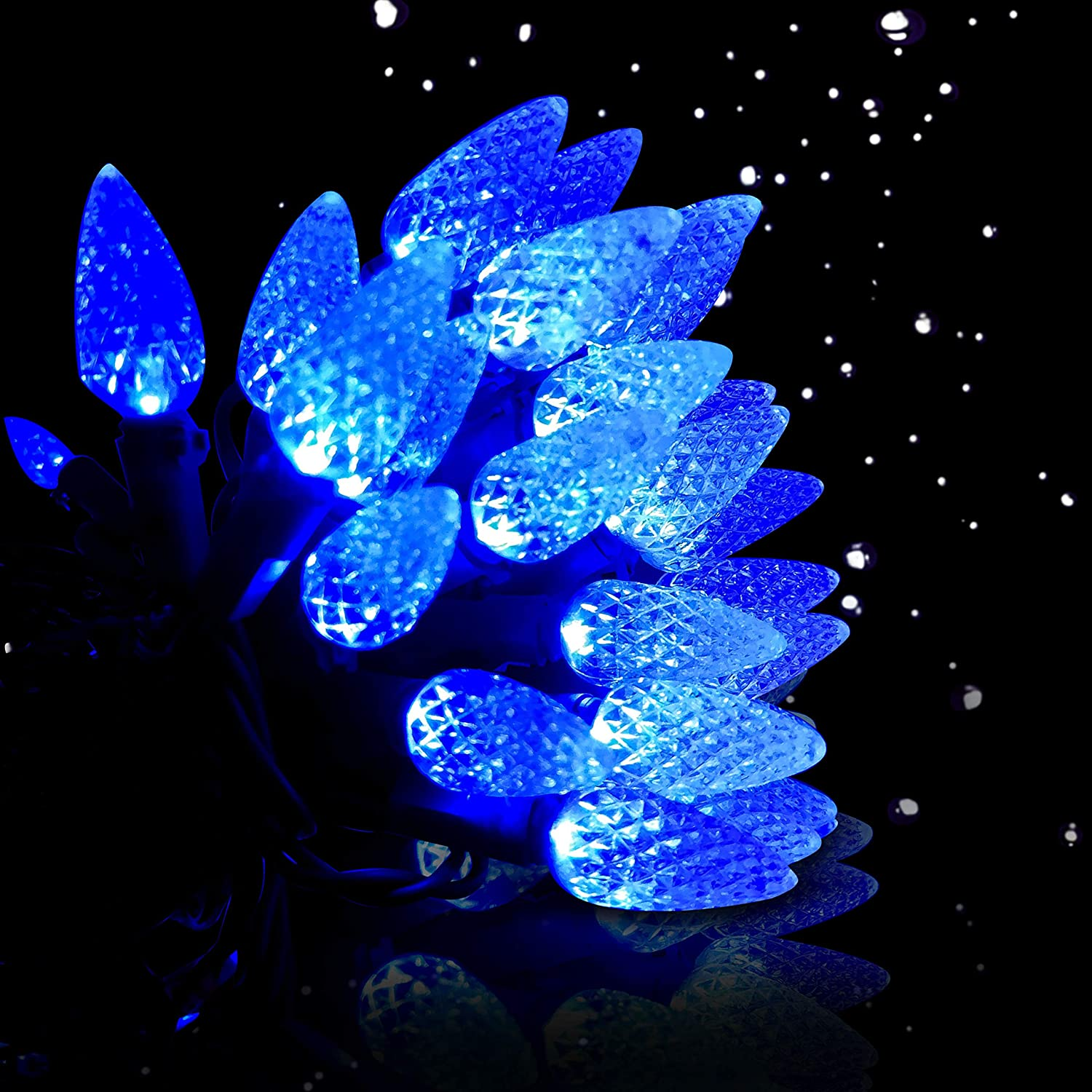 BOKING [UL Listed Christmas Tree Strawberry C6 Light String Waterproof Multicolour 50 LED Outdoor Light String 18 Feet Birthday Holiday Courtyard Garden Home Indoor and Outdoor Decoration(Blue)