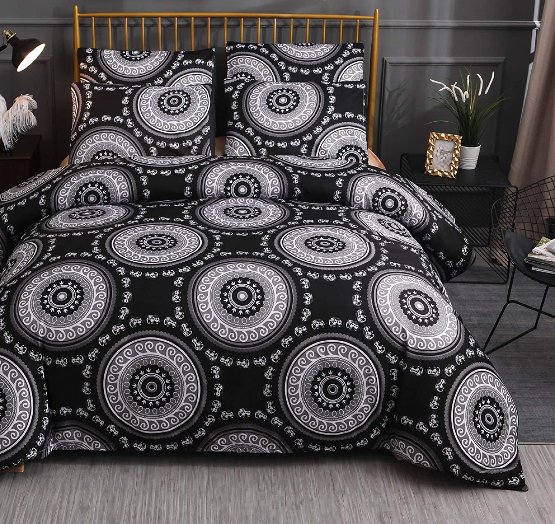 A Nice Night Mandala Chic Boho Bohemian Sytle Circles Elephant Pattern Bedding,Microfiber, Quilt Cover Duvet Cover Sets,Black,King
