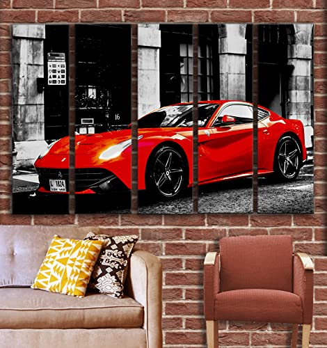 5 Piece Red F12 Berlinetta Supercar Wall Art Decor Picture Painting Poster Print on Canvas Panels Piece