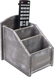 MyGift 3-Slot Gray with Whitewash Finish Wood Remote Control Caddy, Media Storage Organizer