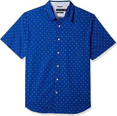 Nautica Hombre W81276 Manga corta Camisa de botones - Azul - Small: Amazon.es: Ropa y accesorios