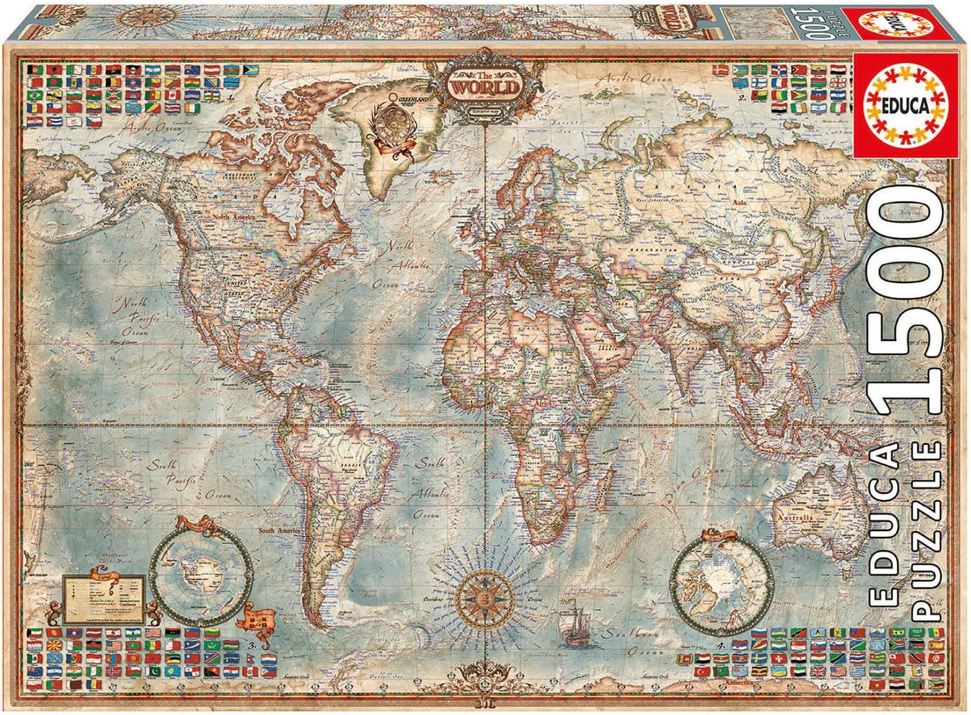 Map Of The World 1500 Amazon.com: Educa Political Map of The World Puzzle, 1500 Piece